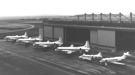 Hangar with calibration aircraft at the Air Force Base Lagerlechfeld